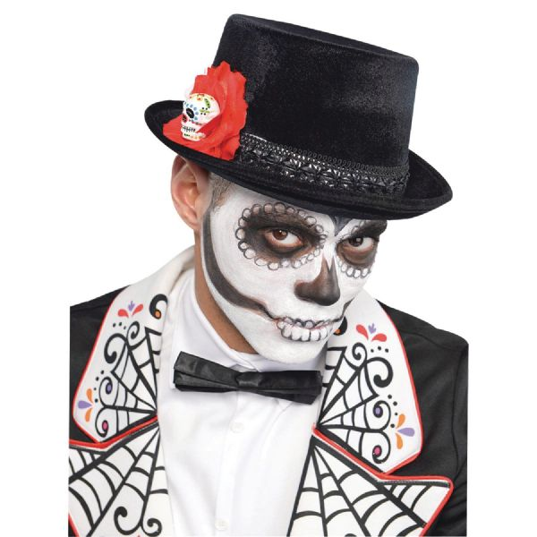 Adults Top Hat Mens Day Of The Dead Halloween Fancy Dress Outfit Accessory